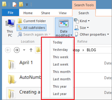 Windows File Explorer Search Tools includes Date Modified drop-down