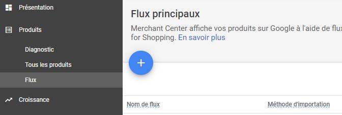 ajout d'un flux dans Google Merchant Center