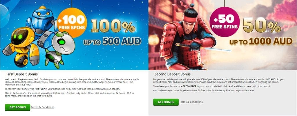 PlayAmo welcome bonus 150 free spins