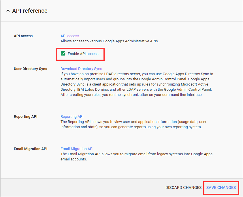 Google Admin Console Security API Reference Enable API access