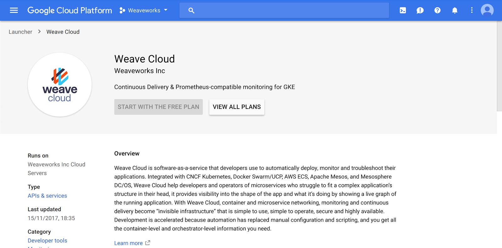 Google Cloud Platform Weave Cloud Subsciption