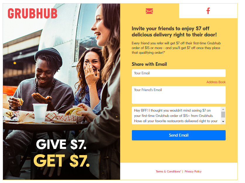 Grubhub Referral Marketing Example | 6 Direct Response Marketing Examples to Try Now