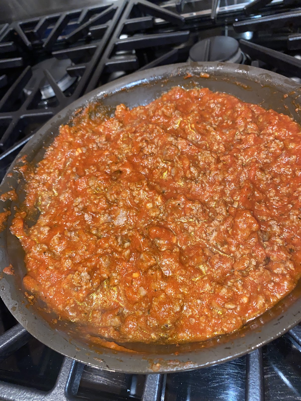 Once you finish the meat mixture, it should resemble a meat sauce.