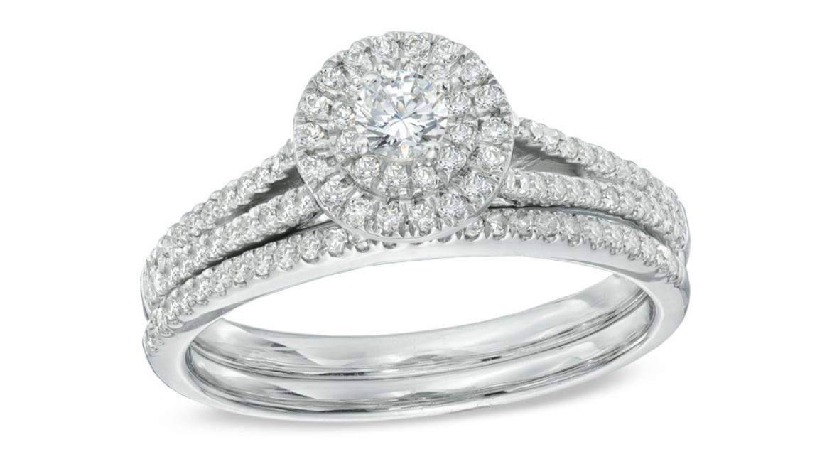 diamond double frame bridal ring set