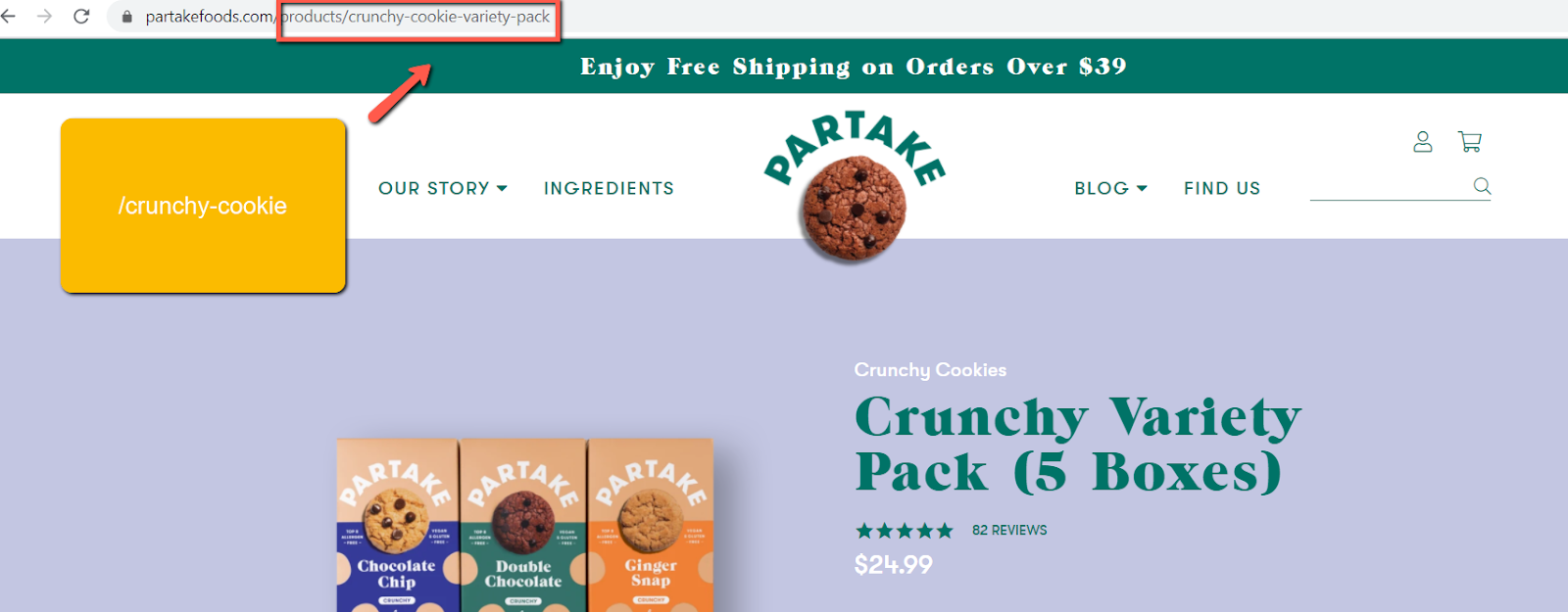 partakefoods page url example