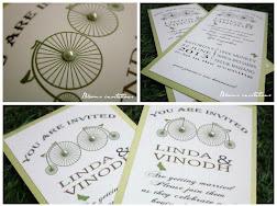vintage bicycle wedding invitation
