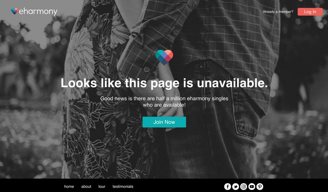 Ejemplo de error 404: eharmony