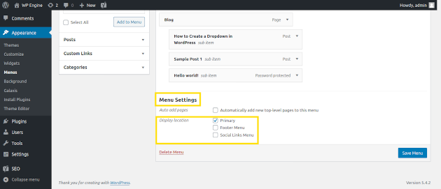 Screenshot of how to customize menu settings in WordPress