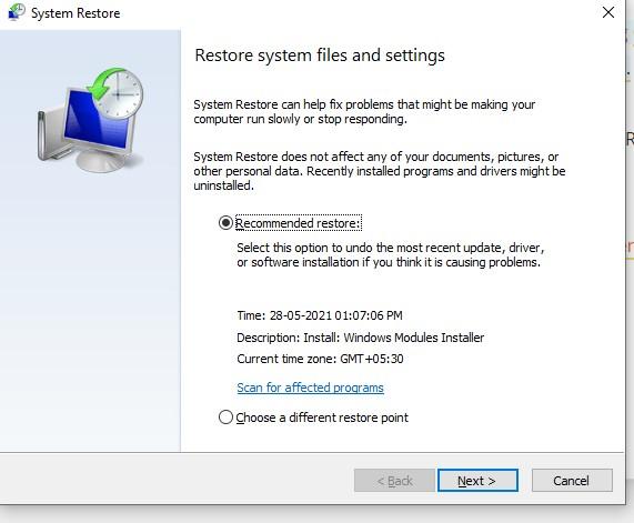 system restore setup