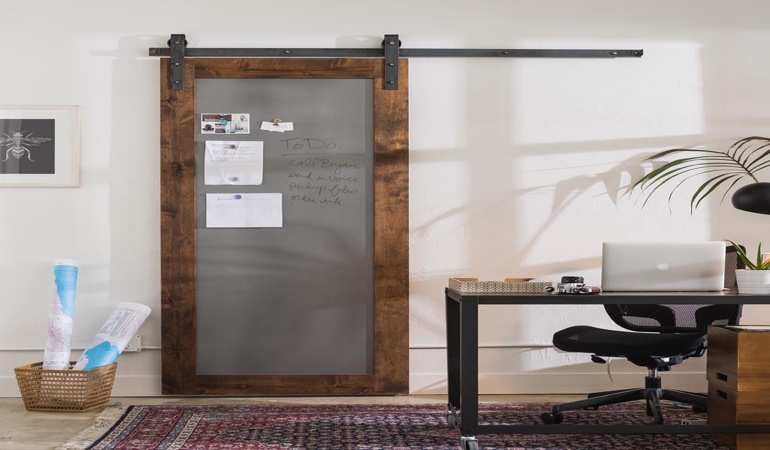 Oklahoma City home office barn door