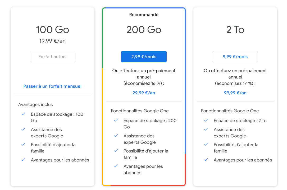 Prix Google One