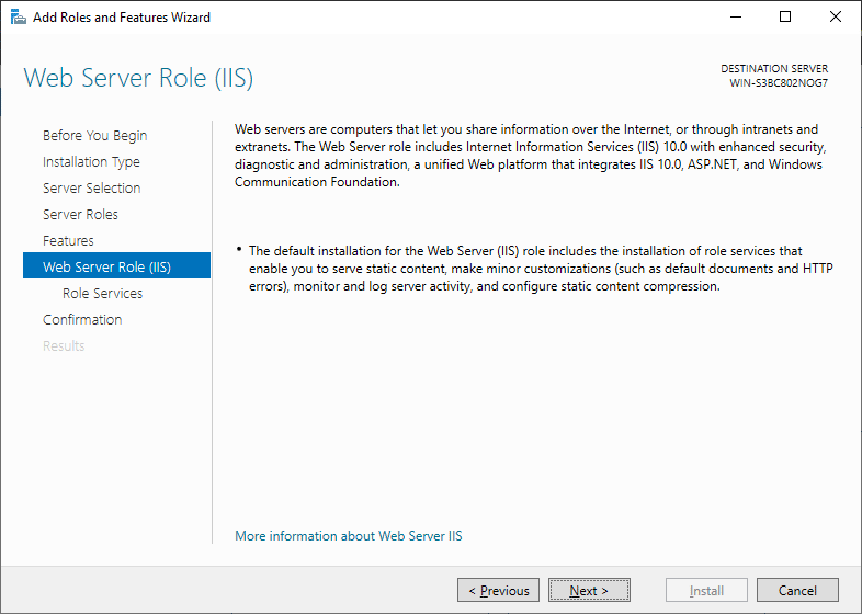 Install Web Server Role - Windows Server 2019