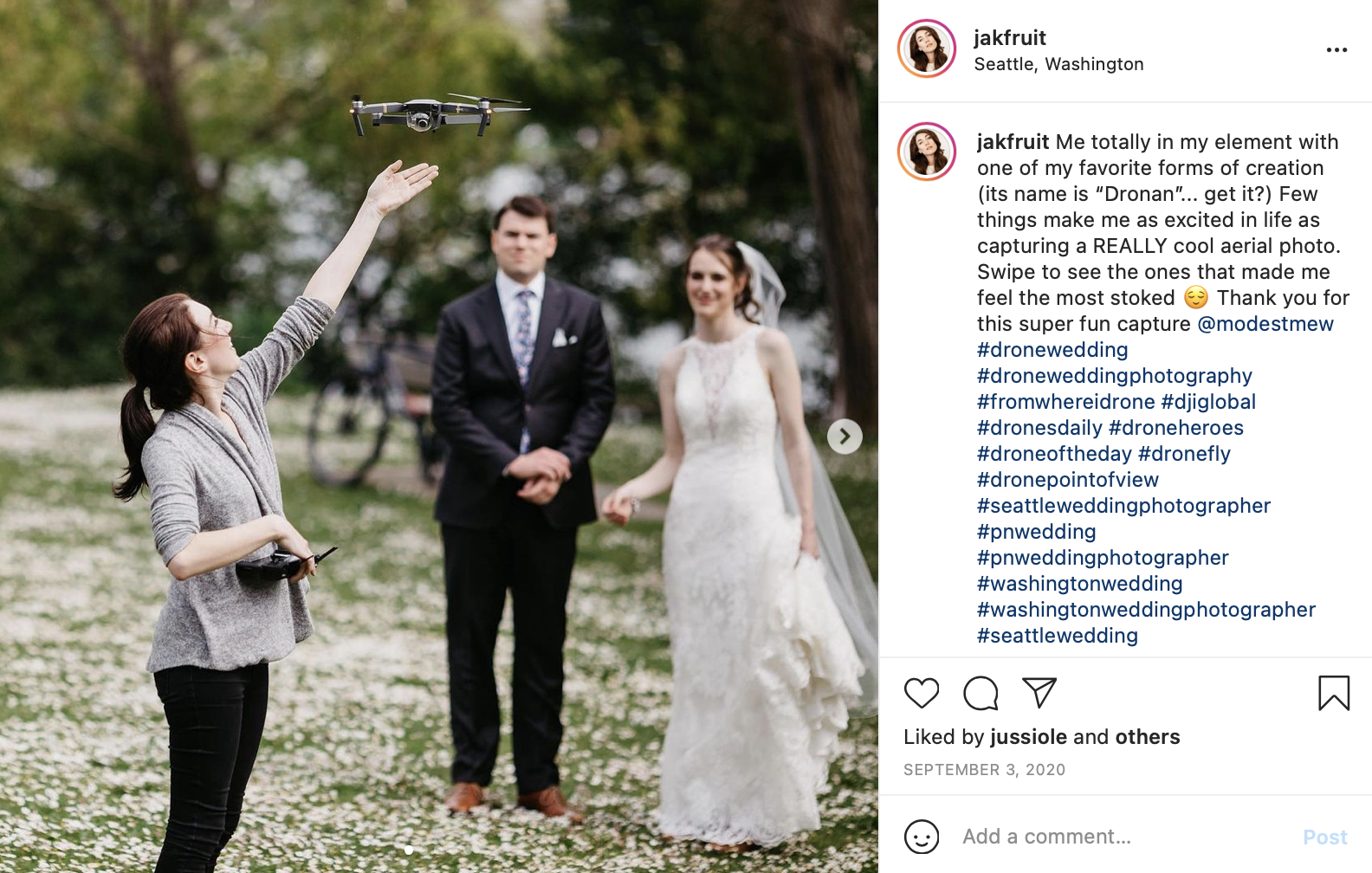 a bride and groom watch their photographer launch a drone