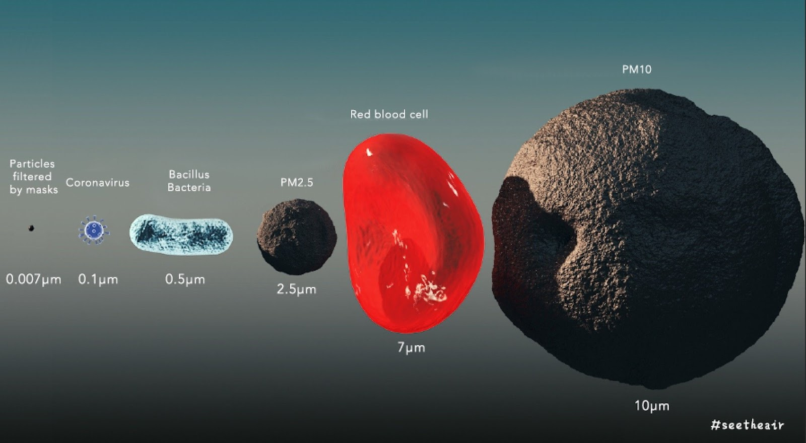 Size of coronavirus particle pm2.5 and bacteria