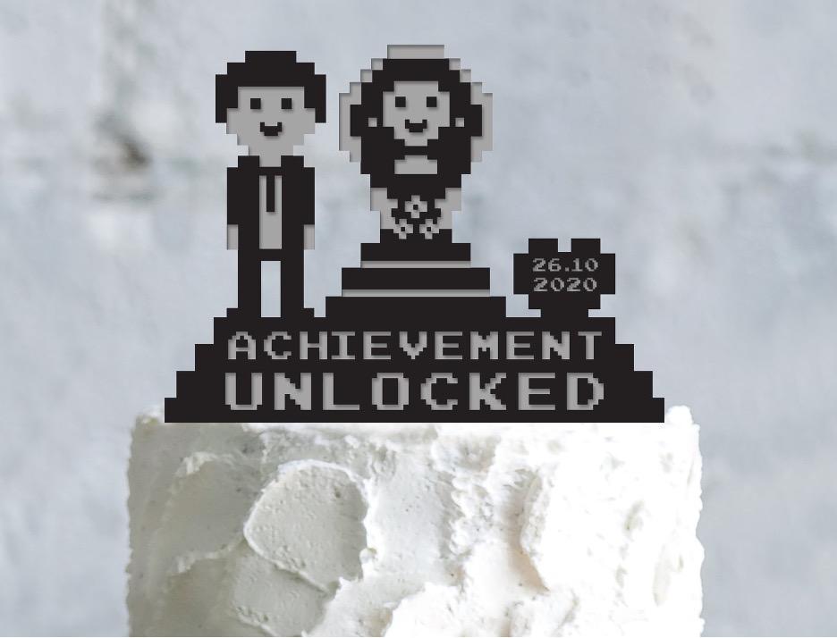 8-bit wedding cake topper