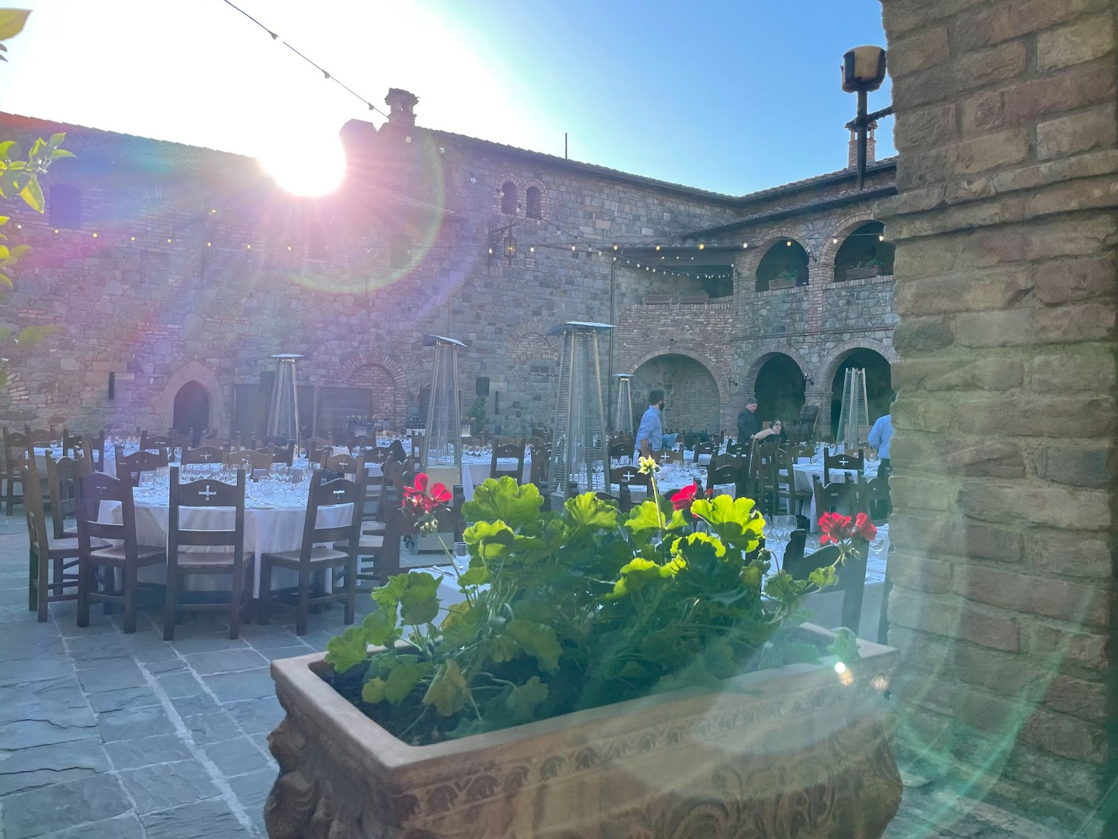 Dinner in the court of Castello di Amorosa