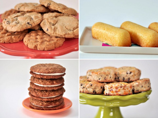 four images: plate of cookies, twinkies, plate of sandwich cookies, and a plate of pastries