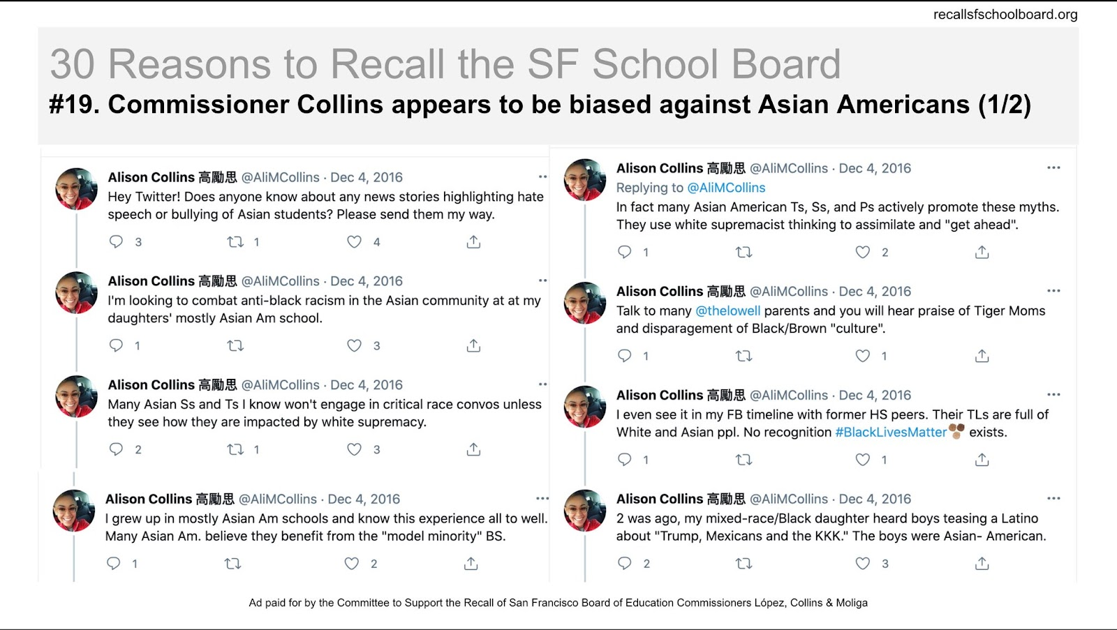 """Recall SF School Board on Twitter: """"30 REASONS TO RECALL THE SF SCHOOL  BOARD 19. Commissioner Collins appears biased against Asian Americans  https://t.co/lX2Q0IhFyw… https://t.co/vv1wMsl0WD"""""""
