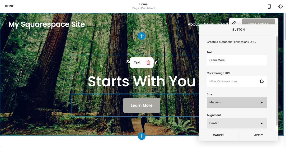 Squarespace web builder editor