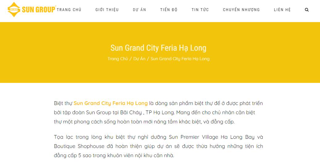 Bài viết giới thiệu dự án Sun Grand City Feria Hạ Long