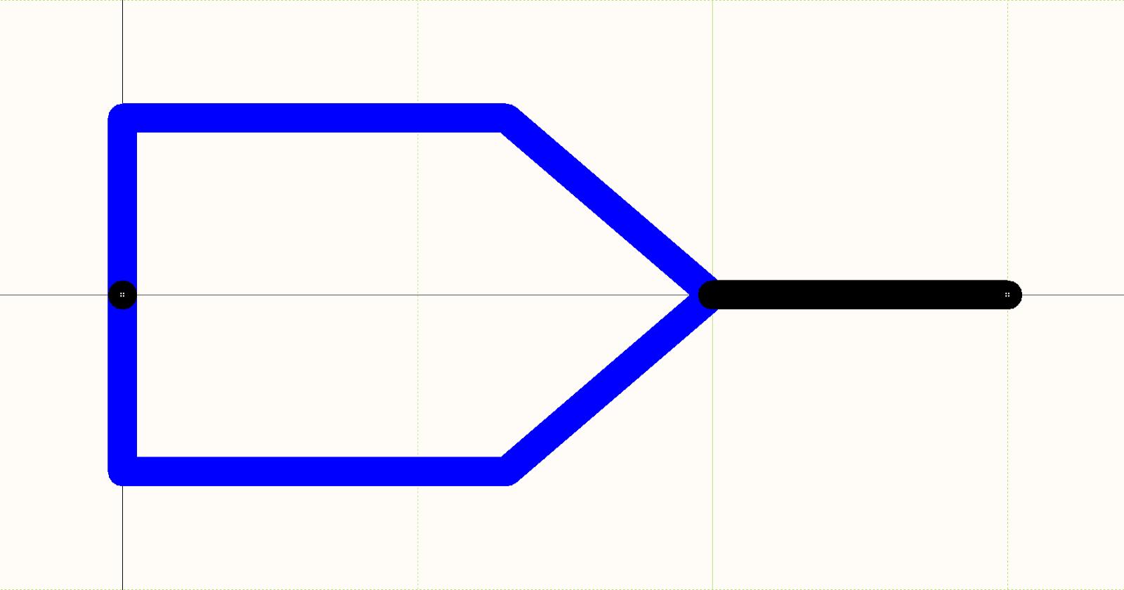 CAD-Zeichnung zur Kabelanordnung für PCB Design: Abbildung 1. Schaltplan-Symbol eines Stiftes als Crimpbauteil