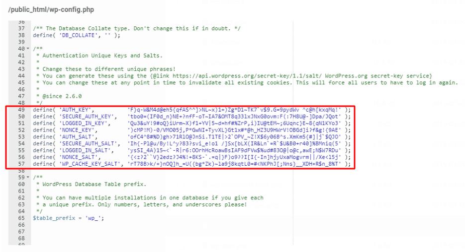 snippets de HTML de 8 salt keys configurado no arquivo wp-config