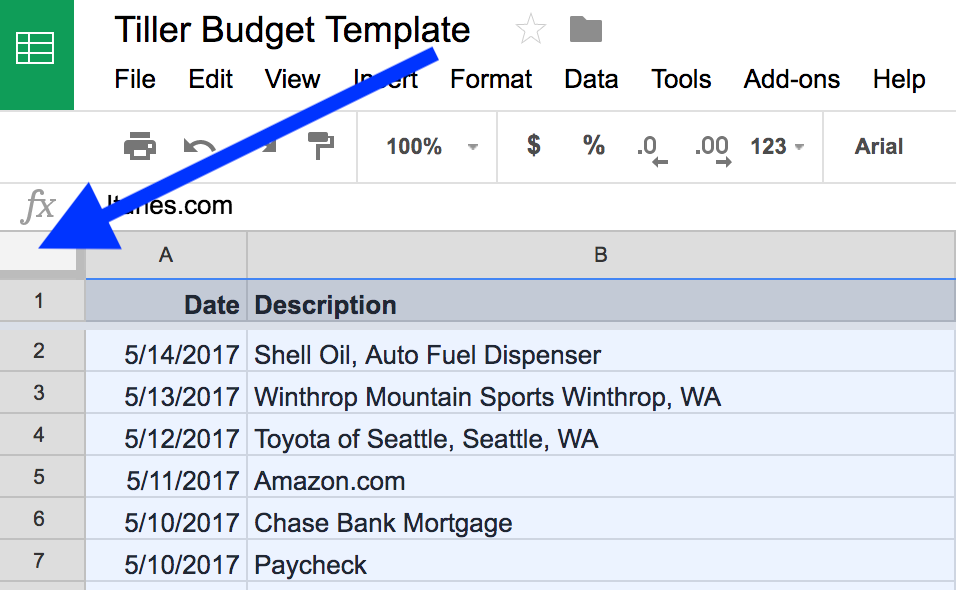 How To Select All The Data In Your Google Sheet   Tiller