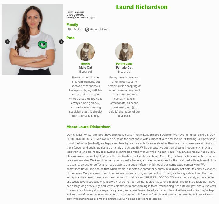 a woman's adopter profile with text fields for information