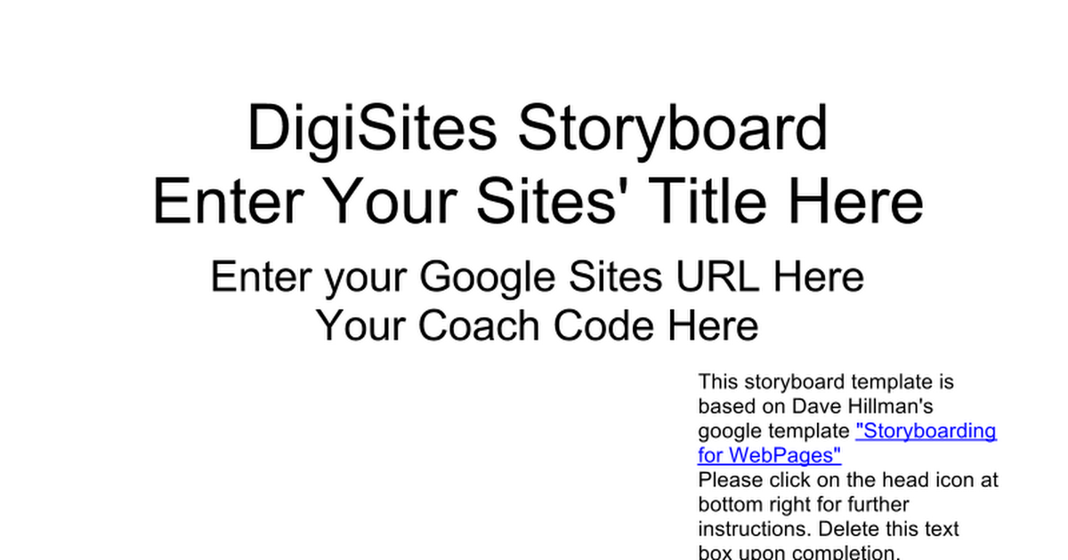 Digisites Storyboard Template Google Slides