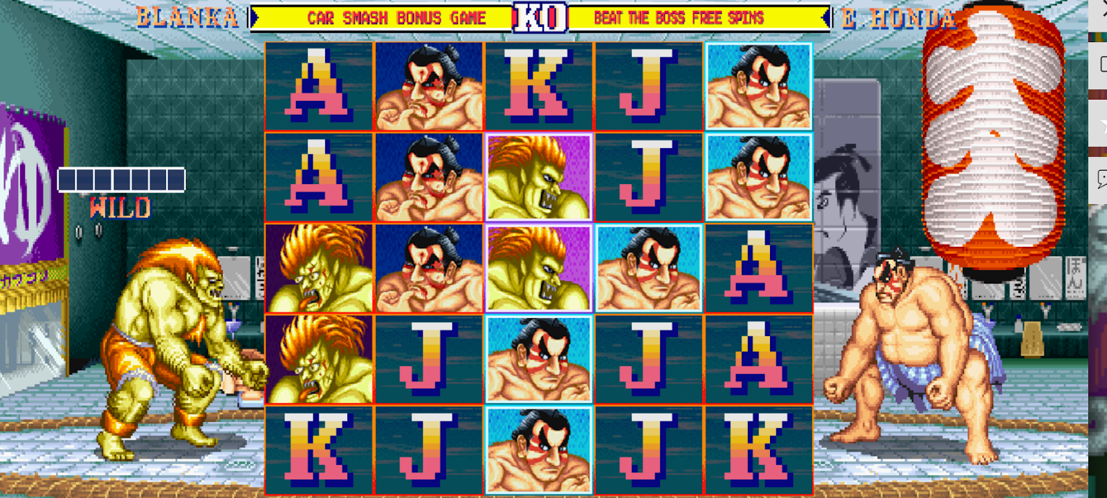Street Fighter II: The World Warrior Slot lets you pick a character from the arcade game and battle an opponent