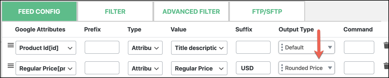 Output Type to Rounded Price for your attribute into feed configuration