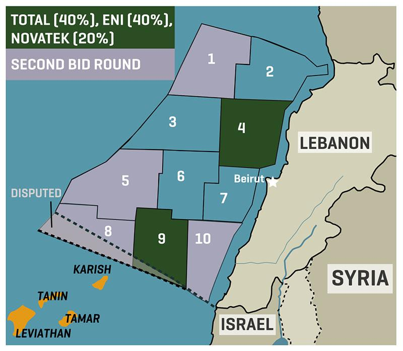 Mapa de las delimitaciones marítimas de Líbano