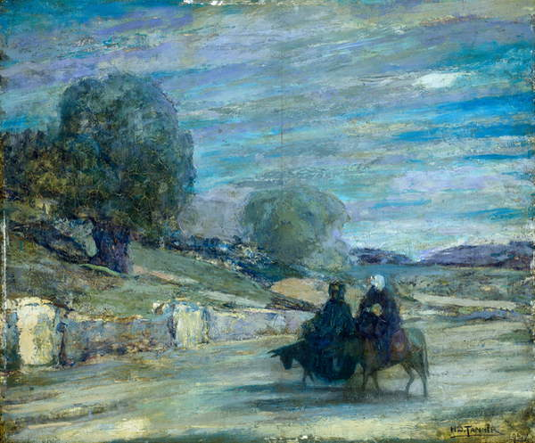 Image of a Flight into Egypt, 1921 (oil on panel), Tanner, Henry Ossawa (1859-1937) / American, Museum of Fine Arts, Houston, Texas, USA, 50.8x61 cms, © Museum of Fine Arts, Houston / Gift of Mrs. Evan W. Burris / Bridgeman Images