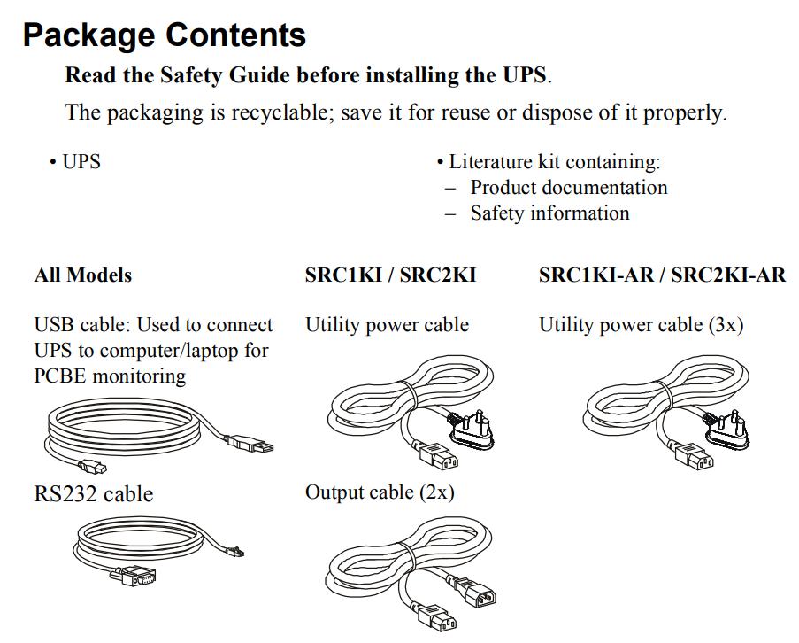 комплектация APC Smart-UPS On-Line SRC1KI