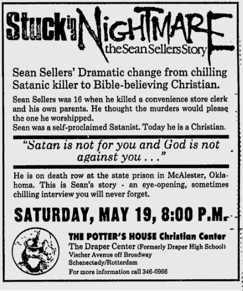 the penalty of death for sean sellers murderer in oklahoma Sellers, of oklahoma, was executed shortly after midnight on february 4, 1999 he was sentenced to death for the shooting on march 5, 1986, of his mother and stepfather.
