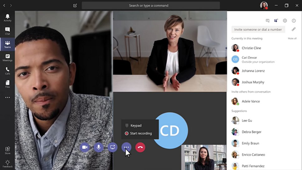 Microsoft teams for video conferencing