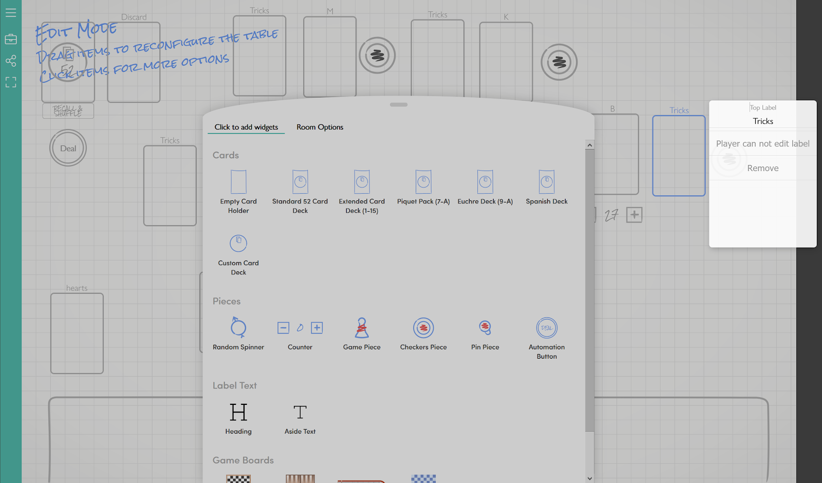 A screenshot of editing a virtual table on playingcards.io. A menu in front of the virtual tabletop offers different options for various game component types.