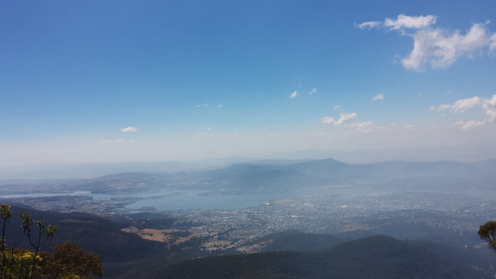 Bicycle ride Mt. Wellington - view of Hobart from top