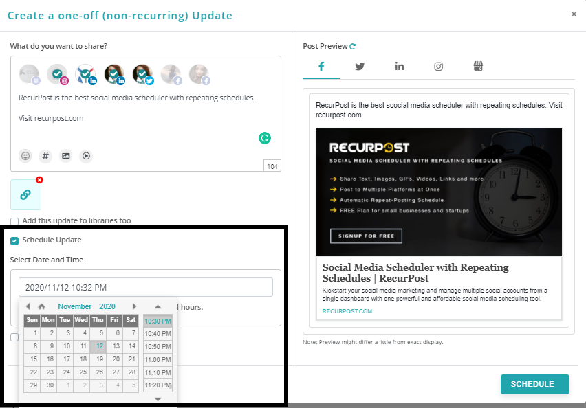 how to create one-off update by using recurpost as best free social media scheduling tool