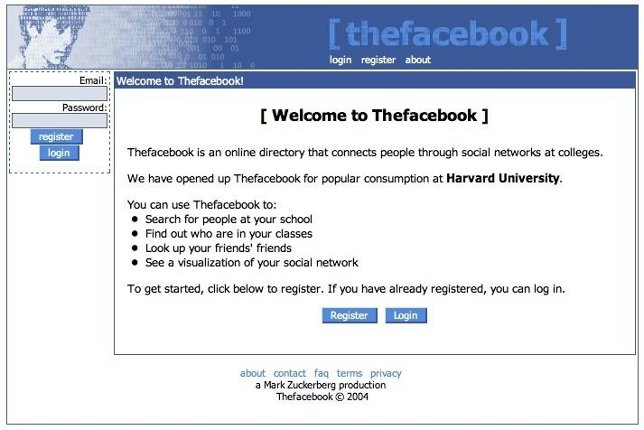 Original Facebook Homepage