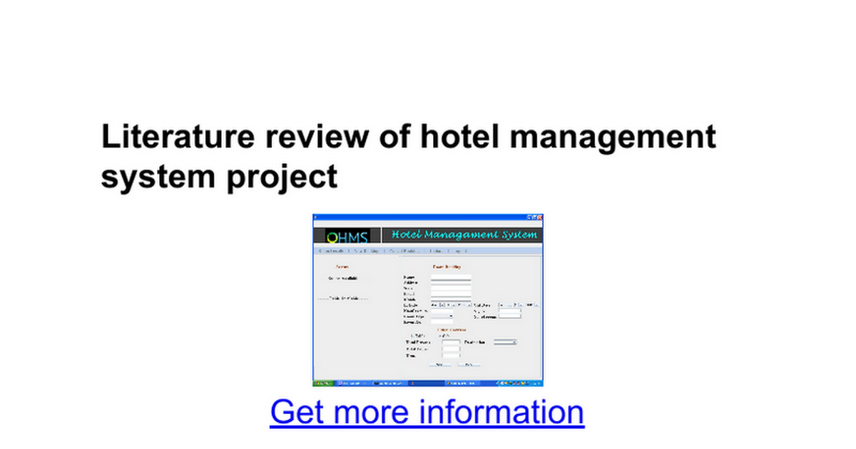 literature review on hostel management system project And iium hostel room management system: a literature review hostel management is an application the system which is proposed as part of this project.