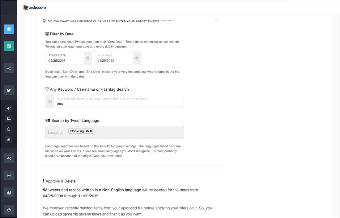 delete tweets by keywords