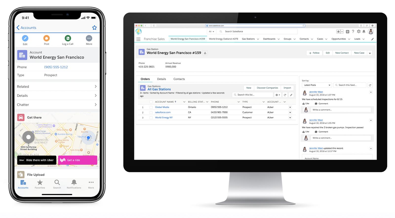 Vue de la version de bureau de LightningExperience à côté d'une vue de la version mobile, montrant différents éléments sur l'interface mobile/de bureau pour la même page d'enregistrement, afin d'illustrer la manière dont les pages d'enregistrement peuvent être personnalisées.