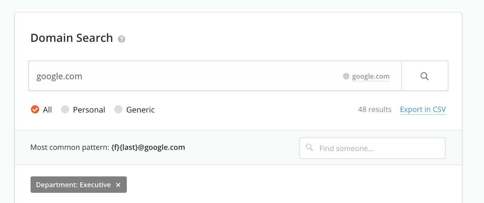 Hunter Domain Search tool