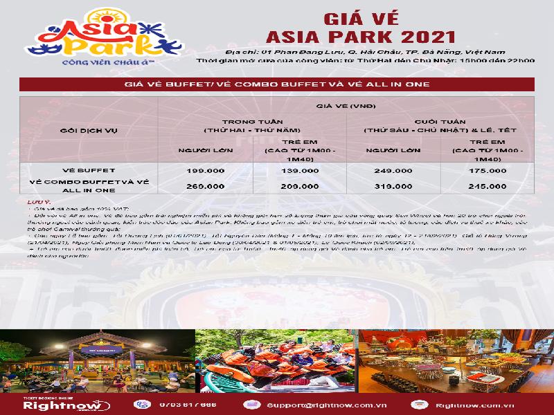 Bảng giá vé buffet tại Asia Park 2021 mới nhất