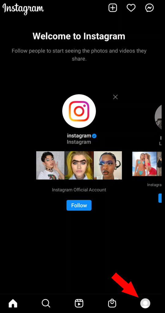 New Instagram account with arrow pointing at Account icon