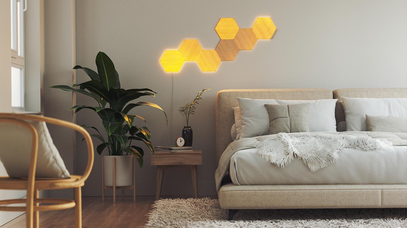 Nanoleaf Elements in a Bedroom for Better Sleep