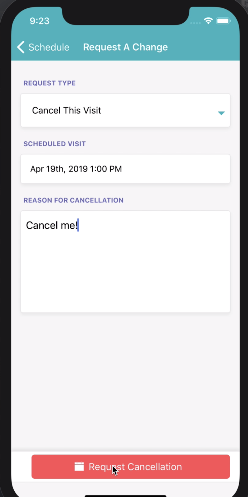 View of screen when canceling an event