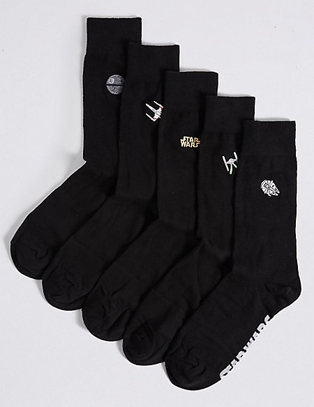 Image result for 5 Pack Cotton Rich Star Wars™ Embroidered Socks