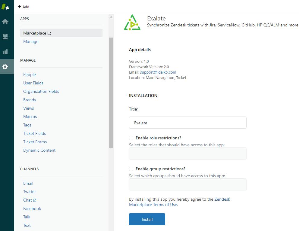 zendesk app details for a zendesk azure devops integration